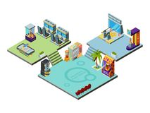 Game center. Amusement park for kids playing game machines arcade simulator racer boxing pinball vector isometric royalty free illustration