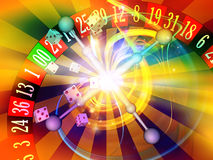 Game of Chance. Interplay of dice, roulette wheel elements and abstract graphics on the subject of chance, luck, casino, games and risk stock illustration