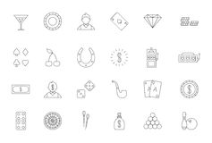 Game of chance black icons set. Set of 24 Game of chance black icons Royalty Free Stock Photo