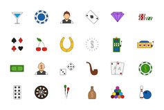 Game of chance colorful icons set. Set of 24 Game of chance colorful icons Stock Photography
