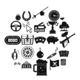 Game of chance icons set, simple style. Game of chance icons set. Simple set of 25 game of chance vector icons for web isolated on white background stock illustration
