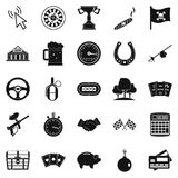 Game of chance icons set, simple style. Game of chance icons set. Simple set of 25 game of chance vector icons for web isolated on white background royalty free illustration