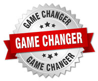 Game changer 3d silver badge. With red ribbon Stock Images