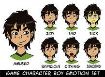 Game character boy emotions set Royalty Free Stock Photo