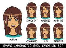 Game character girl brown hair emotions set Stock Photo