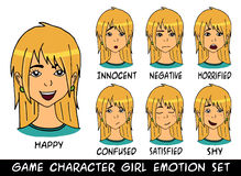 Game character girl emotions set vector illustration Stock Images
