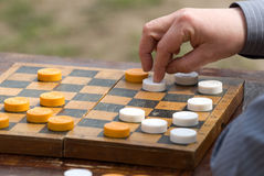 Game in checkers Stock Photo