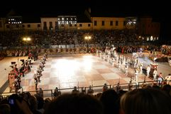 Game of chess. Live pieces of the famous Game of Chess lined up in Marostica's main square during the 2012 revocation Stock Image