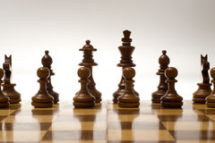 Game of Chess. Chess game piting black against white in a game of skill and intelligence Stock Images
