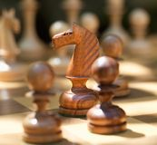 Game of Chess with Focus on the Horse. Royalty Free Stock Image