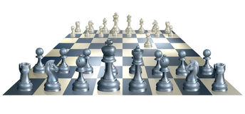 Game of chess illustration. A complete set of chess pieces and board just after the start of a game with white having made the opening move Stock Photos