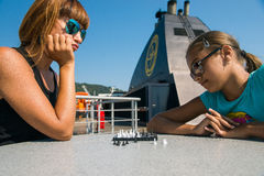 Game of chess outdoors Stock Photo