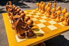 The game of chess and simultaneous chess display Royalty Free Stock Photo