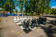 The game of chess and simultaneous chess display Royalty Free Stock Photography