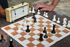 Game of chess in ukraine. Game chess hours detail park waiting relaxing oldies Royalty Free Stock Photos