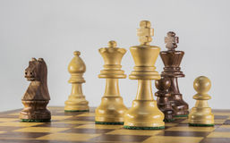 Game of chess on the white background stock images