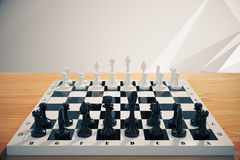 Game of chess on wooden table. Close up Royalty Free Stock Photos