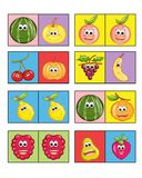 Game for children 1. Colored illustration of a game for children with the fruit. Two or more players to turn have to put a card next to the other or for equal Royalty Free Stock Photos