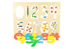 Game for children. To learn numbers against white background Stock Photo