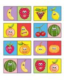 Game for children 2. Colored illustration of a game for children with the fruit. Two or more players to turn have to put a card next to the other or for equal Royalty Free Stock Photography