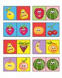 Game for children 3. Colored illustration of a game for children with the fruit. Two or more players to turn have to put a card next to the other or for equal Stock Image
