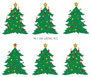 Game for Children with Christmas Trees. Christmas Game for Children. Find Two Same Christmas Trees Stock Photos