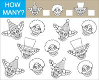 Game for children. Color faces of clowns and count how many clow. Ns. Vector illustration Stock Images