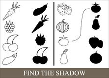 Game for children. Color objects of vegetables, berries and fruits and find the correct shadow. Vector illustration Stock Images