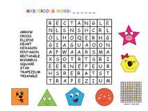 Game for children. Crossword for shapes Royalty Free Stock Photo