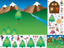 Game for children. Cut and paste the mountain landscape Royalty Free Stock Photography