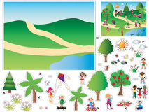 Game for children. Cut and paste the objects and people in the background Royalty Free Stock Photography