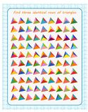 A game for children. Development of attention. Find three identical rows of triangles