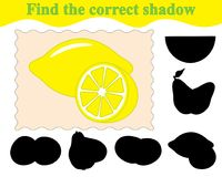 Game for children. Find the correct shadow of lemons. Education. Vector illustration Stock Images