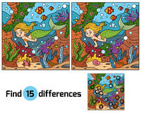 Game for children: find differences (little mermaid) Stock Photo