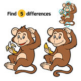 Game for children: find differences (little monkey) Royalty Free Stock Photography