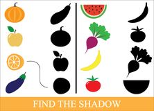 Game for children. Find the shadow of objects of vegetables, berries and fruits. Vector illustration Royalty Free Stock Photo