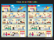 Game for children. Find the twenty differences in the hospital Royalty Free Stock Images