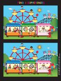Game for children. Find eight differences in amusement park Stock Photos