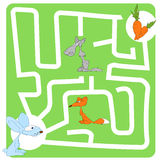 Game for Children with Hare and Carrot. Vector Maze, Labyrinth Game for Children with Hare and Carrot Stock Image