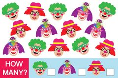 Game for children. How many clowns? Learning numbers, mathematics.  Stock Image