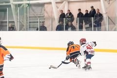 Game of children ice-hockey teams Stock Photo