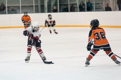 Game between children ice-hockey teams Royalty Free Stock Photo