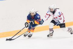 Game between children ice-hockey teams Royalty Free Stock Photos