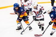Game between children ice-hockey teams Stock Photography