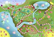 Game for children - journey through the floral country. Vector illustration Stock Images