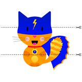 A game for children of preschool age. Cut the picture into pieces. Fold in the right order. Mosaic. cat super hero. Vector illustration. A game for children of Stock Images