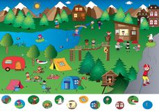Game for children. Visual game of mountain landscape Stock Image