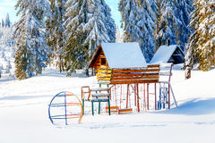 Game Children's Complex in beautiful mountain snowy landscape. Royalty Free Stock Photos