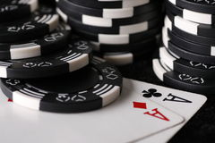Game chips and best possible poker hand Royalty Free Stock Images