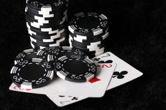 Game chips and worst possible poker hand stock photo